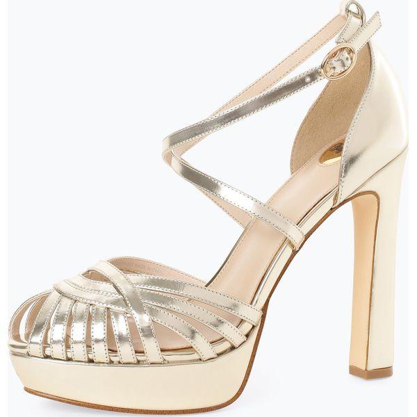e3b553272 Buffalo - Damskie skórzane sandały na obcasie – Marigold, złoty ...