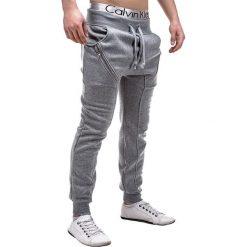 SPODNIE MĘSKIE DRESOWE P184 - SZARE. Czarne spodnie dresowe męskie marki Ombre Clothing, m, z bawełny, z kapturem. Za 49,00 zł.