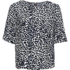 Bluzka z zamkiem bonprix w cętki leoparda. Czarne bluzki z odkrytymi ramionami marki bonprix, z falbankami. Za 59,99 zł.