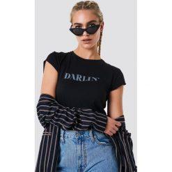 NA-KD T-shirt Darlin' - Black,Blue. Niebieskie t-shirty damskie marki NA-KD, z satyny. Za 60,95 zł.