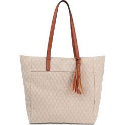 Torba shopper z bawełny bonprix naturalno-koniakowy. Brązowe shopper bag damskie bonprix, z bawełny. Za 32,99 zł.