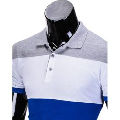 KOSZULKA MĘSKA POLO BEZ NADRUKU S833 - SZARA/NIEBIESKA. Niebieskie koszulki polo marki Ombre Clothing, m, z nadrukiem. Za 39,00 zł.