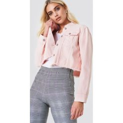 Bomberki damskie: NA-KD Trend Krótka kurtka jeansowa - Pink
