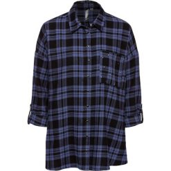 Bluzka flanelowa z ćwiekami bonprix indygo-czarny w kratę. Niebieskie bluzki asymetryczne bonprix. Za 59,99 zł.