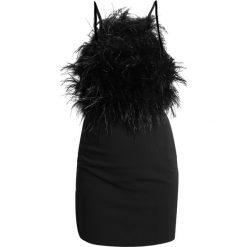 Sukienki: Missguided STRAPPY FEATHER OPEN BACK BODYCON Sukienka etui black