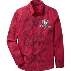 Koszula z długim rękawem Slim Fit bonprix ciemnoczerwony z nadrukiem. Czerwone koszule męskie na spinki marki Cropp, l. Za 79,99 zł.