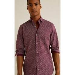 Mango Man - Koszula Poniente. Brązowe koszule męskie na spinki marki Mango Man, l, z bawełny, z klasycznym kołnierzykiem, z długim rękawem. W wyprzedaży za 99,90 zł.