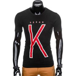 T-SHIRT MĘSKI Z NADRUKIEM S925 - CZARNY. Czarne t-shirty męskie z nadrukiem marki Ombre Clothing, m, z bawełny, z kapturem. Za 29,00 zł.