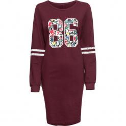 Sukienka dresowa bonprix czerwony klonowy melanż z nadrukiem. Szare sukienki dresowe marki bonprix, melanż, z kapturem, z długim rękawem, maxi. Za 59,99 zł.