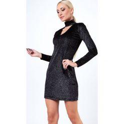 Sukienki hiszpanki: Czarno-Srebrna Brokatowa Sukienka z Chokerem 9480