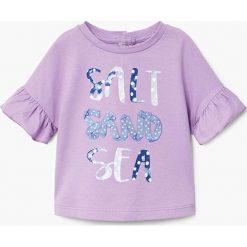 Mango Kids - Top dziecięcy Sandra 80-104 cm. Różowe bluzki dziewczęce Mango Kids, z aplikacjami, z bawełny, z okrągłym kołnierzem. W wyprzedaży za 29,90 zł.