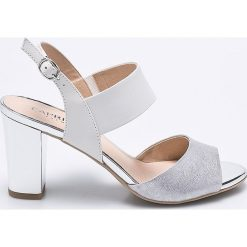 Caprice - Sandały. Szare sandały damskie na słupku marki Caprice, z materiału. W wyprzedaży za 199,90 zł.