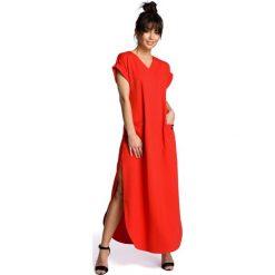 Czerwona Wyjściowa Długa Sukienka z Rozcięciami na Bokach. Czerwone długie sukienki Molly.pl, na imprezę, l, z dzianiny, wizytowe, dekolt w kształcie v, z długim rękawem, oversize. Za 158,90 zł.