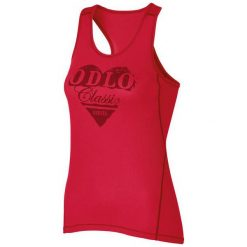 Odlo Koszulka damska  Singlet crew neck Cubic Trend czerwona r.L (140821). Czarne bluzki sportowe damskie marki B'TWIN, l, z elastanu, z długim rękawem. Za 109,46 zł.