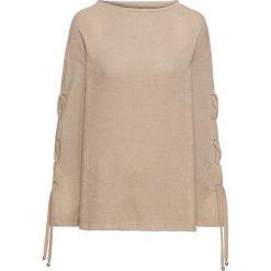 Sweter ze sznurowaniem na rękawach bonprix latte macchiato. Brązowe swetry klasyczne damskie bonprix, ze sznurowanym dekoltem. Za 99,99 zł.