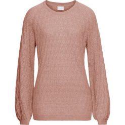 Swetry klasyczne damskie: Letni sweter ażurowy bonprix stary jasnoróżowy