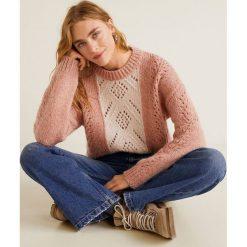 Mango - Sweter Siberian. Różowe swetry klasyczne damskie Mango, l, z dzianiny, z okrągłym kołnierzem. Za 159,90 zł.