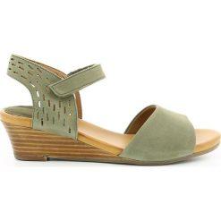 Rzymianki damskie: Sandały z nubuku na koturnie Liane