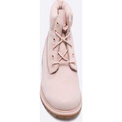 Timberland - Botki A1K3Z 6in. Szare buty zimowe damskie Timberland, z materiału, z okrągłym noskiem, na obcasie, na sznurówki. W wyprzedaży za 629,90 zł.