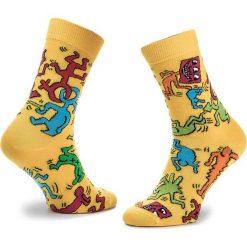 Skarpety Wysokie Unisex HAPPY SOCKS - KEH01-2000 Kolorowy Żółty. Żółte skarpetki męskie marki Happy Socks, w kolorowe wzory, z bawełny. Za 39,90 zł.