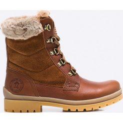 Panama Jack - Botki. Szare buty zimowe damskie Panama Jack, z materiału, na obcasie, na sznurówki. W wyprzedaży za 449,90 zł.