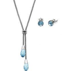 Kolczyki damskie: 2-częściowy zestaw w kolorze srebrno-niebieskim – naszyjnik, kolczyki