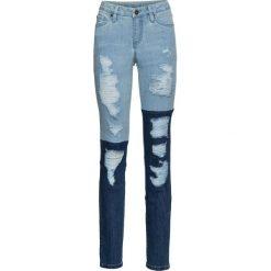 Dżinsy SKINNY z wstawkami bonprix niebieski bleached. Niebieskie jeansy damskie skinny bonprix, z jeansu. Za 99,99 zł.