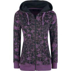 Gothicana by EMP Freaking Out Loud Bluza z kapturem rozpinana damska purpurowy/czarny. Czarne bluzy rozpinane damskie marki Gothicana by EMP, xl, z nadrukiem, z kapturem. Za 184,90 zł.