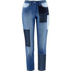 """Dżinsy ze stretchem 7/8 patchworkowe bonprix niebieski """"stone"""". Niebieskie boyfriendy damskie bonprix. Za 109,99 zł."""