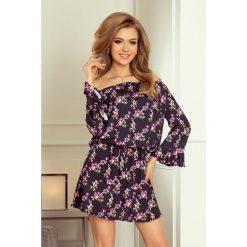 Allyson Sukienka z falbankami na rękawkach - DROBNE KWIATY + czarna. Czarne sukienki marki numoco, s, w kwiaty, z falbankami, oversize. Za 149,00 zł.