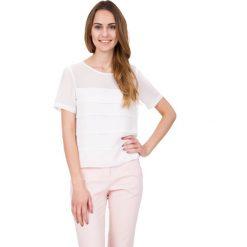 Bluzki asymetryczne: Biała pudełkowa bluzka z krótkim rękawem BIALCON