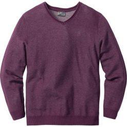 Swetry męskie: Sweter z dekoltem w serek Regular Fit bonprix jeżynowy melanż