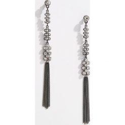 Kolczyki damskie: Długie kolczyki z łańcuszkami - Szary