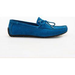 Mokasyny męskie: Zamszowe mokasyny - Niebieski