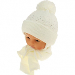 Czapka niemowlęca z szalikiem CZ+S 128C. Białe czapeczki niemowlęce Proman. Za 39,76 zł.