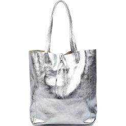 Torebki klasyczne damskie: Skórzana torebka w kolorze srebrnym – (S)37 x (W)41 x (G)12 cm