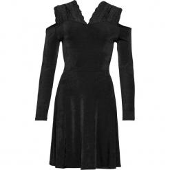Sukienka z dżerseju, z koronką bonprix czarny. Czarne sukienki balowe bonprix, w koronkowe wzory, z dżerseju, na ramiączkach. Za 119,99 zł.