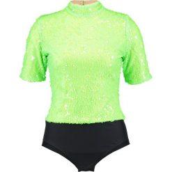 T-shirty damskie: Jaded London HIGH NECK SLEEVE NEON SEQUIN Tshirt z nadrukiem green/black