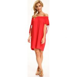 Sukienki: SUKIENKA DAMSKA ROZKLOSZOWANA Z WIĄZANIAMI NA RĘKAWACH
