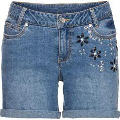 """Szorty w kwiaty bonprix jasnoniebieski """"bleached"""". Niebieskie szorty damskie z printem marki bonprix, z jeansu. Za 89,99 zł."""