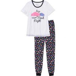 Piżamy damskie: Piżama bonprix biało-czarny z nadrukiem