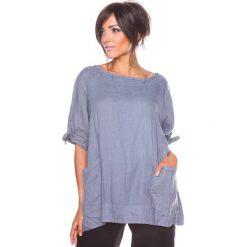 """Bluzki asymetryczne: Lniana koszulka """"Nelia"""" w kolorze szarym"""