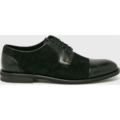 Conhpol - Półbuty. Czarne buty wizytowe męskie Conhpol, z materiału, z okrągłym noskiem, na sznurówki. Za 499,90 zł.
