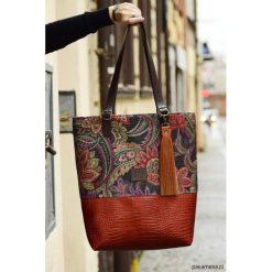 Shopper Brown&Orange. Brązowe shopper bag damskie Pakamera, ze skóry. Za 270,00 zł.