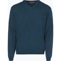 Finshley & Harding - Sweter męski z kaszmiru i jedwabiu, niebieski. Czarne swetry klasyczne męskie marki Finshley & Harding, w kratkę. Za 399,95 zł.
