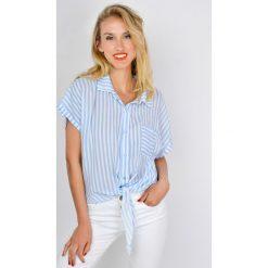 Koszule damskie: Koszula w paski z wiązanym dołem