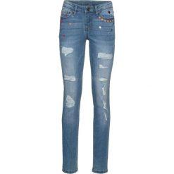"""Dżinsy SKINNY bonprix niebieski """"bleached"""". Niebieskie jeansy damskie skinny marki bonprix, z nadrukiem. Za 79,99 zł."""