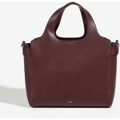 Parfois - Torebka. Brązowe shopper bag damskie Parfois, w paski, z materiału, do ręki, duże. Za 119,90 zł.