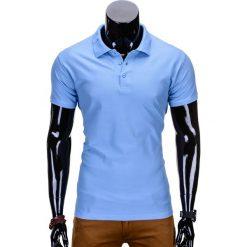 KOSZULKA MĘSKA POLO BEZ NADRUKU S715 - BŁĘKITNA. Zielone koszulki polo marki Ombre Clothing, na zimę, m, z bawełny, z kapturem. Za 39,00 zł.