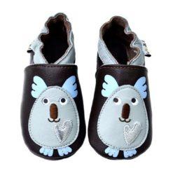 """Bez Kategorii: Skórzane buty niemowlęce """"Koala"""" w kolorze ciemnobrązowo-błękitnym"""